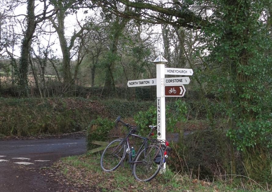Signpost showing a cycle route