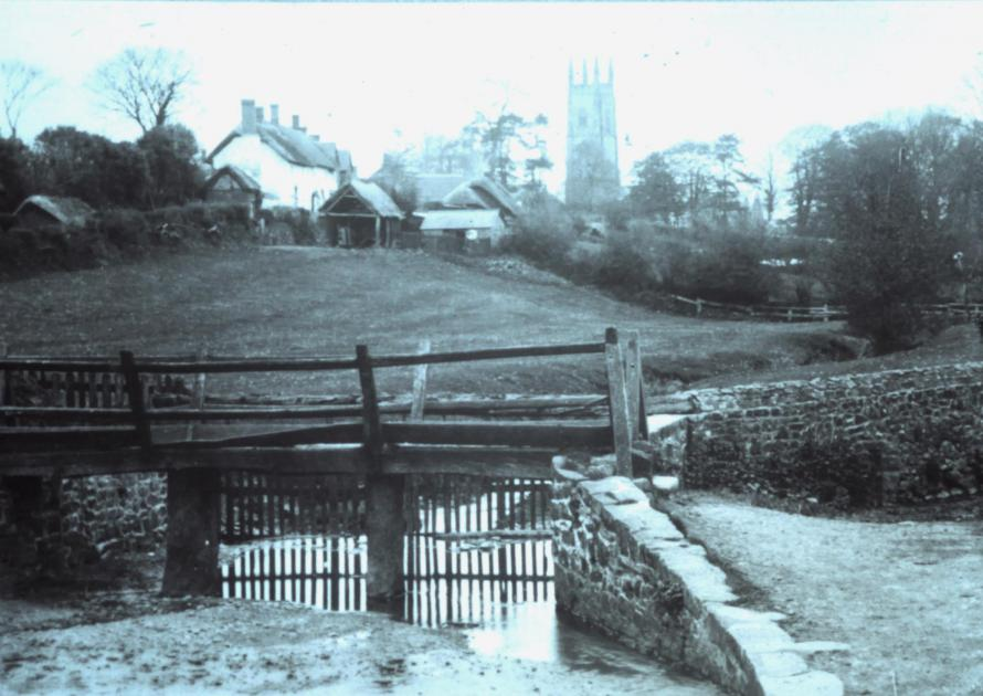 New footbridge and views up the village to church