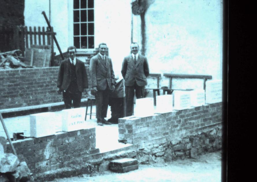 Laying the memorial stones at the Methodist Chapel