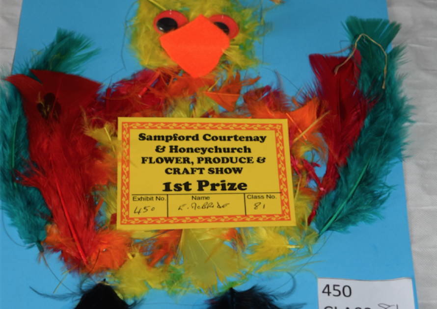 1st prize Children's Exhibit of bird made of feathers. 2017