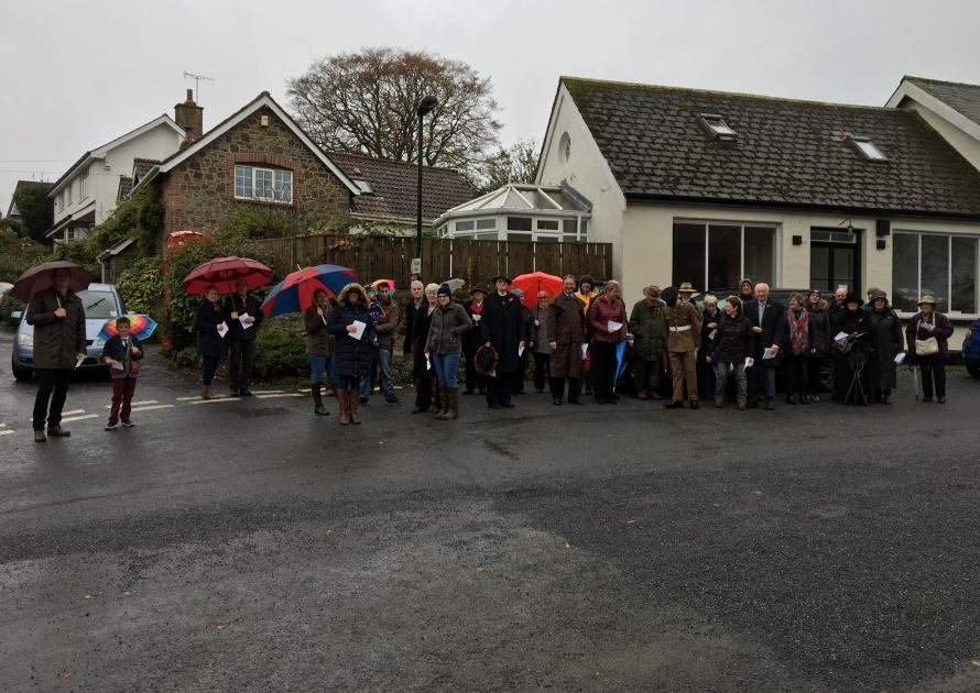 Parishioners in the village square for Armistice Day 11th November 2017