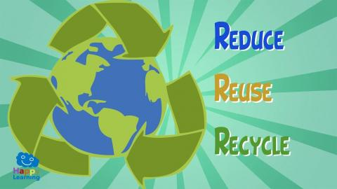 Reduce, reuse and recycle poster.