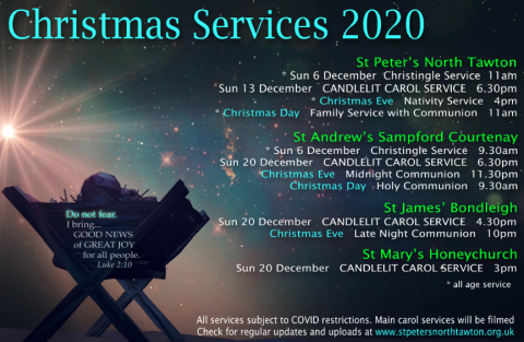 Poster showing dates, times, and locations of Christmas Services