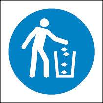 Blue circle on a white background with image of person putting litter in a bin
