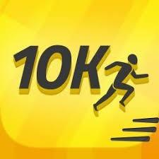 '10k' written in black letters on a yellow background with an image of a runner.