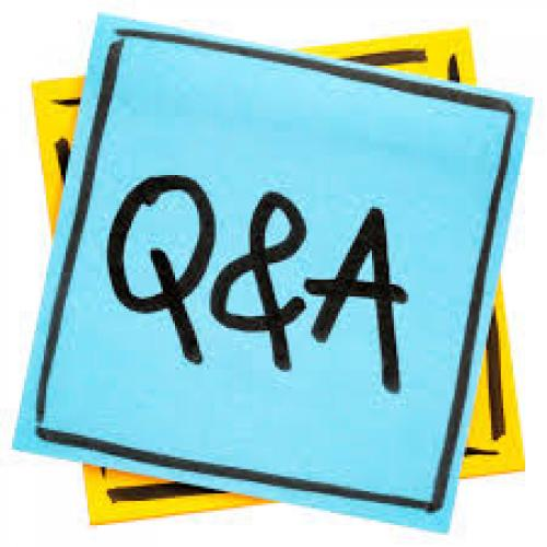 Image of Q&A written on blue square background