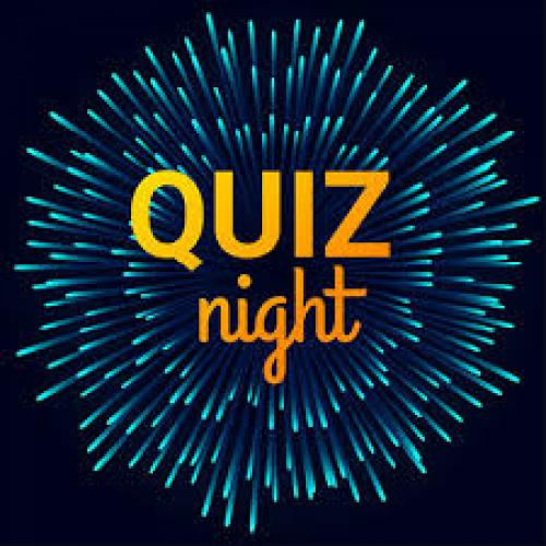 Image showing 'Quiz night' on a background of exploding fireworks