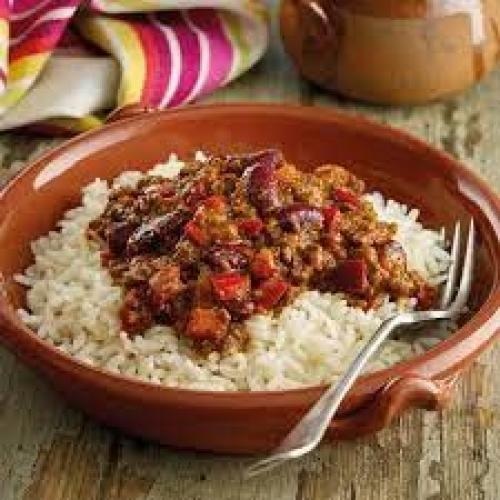Picture showing a bowl of chilli and rice