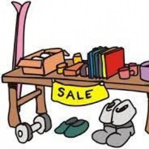 Cartoon image of items for sale on a table