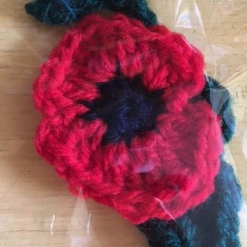 Hand crocheted poppy