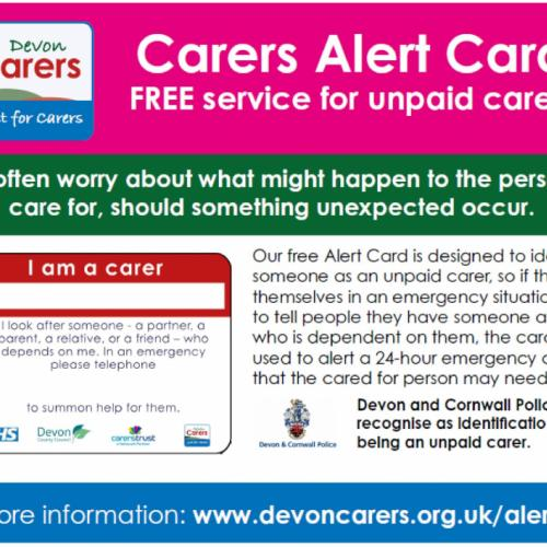 Image of a Devon Carers Alert Card for Unpaid Carers