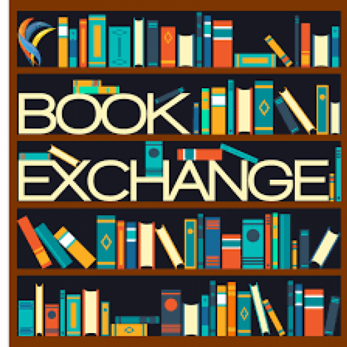 Image of a book case full of books with 'Book Exchange' written across it