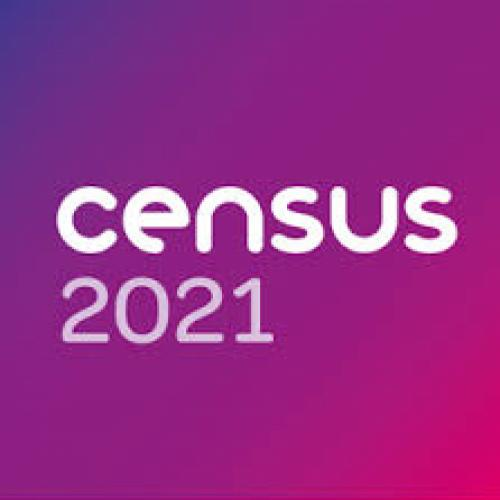 Image showing 'Census 2021' in white lettering on a purple background