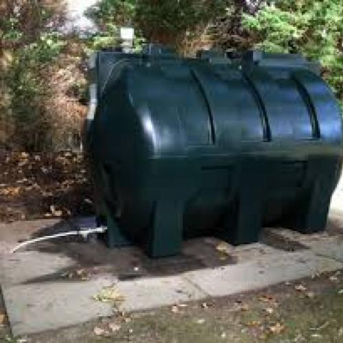 Picture of a green domestic oil tank