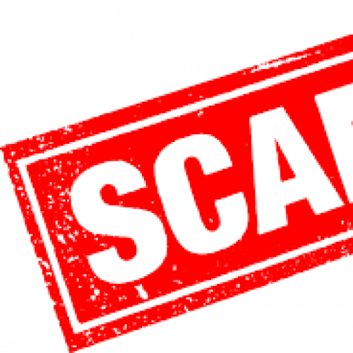 The word Scam in white lettering on a red background