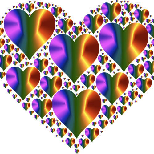 Image of a heart shape made up of different sized hearts in multi colours